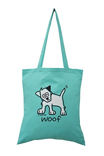 'Dog' woof mint green cotton Tote bag