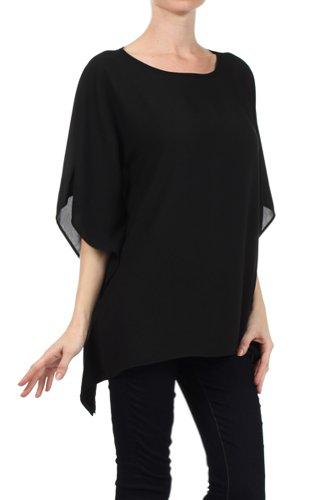 Modern Kiwi Opaque Chiffon Caftan Poncho Tunic Top Black One Size