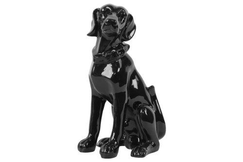 Black Ceramic Figurine (Urban Trends 46655-UT Decorative Ceramic Sitting Dog, Black)