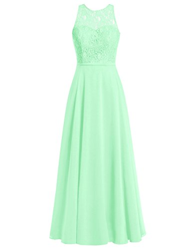 Dress Prom Mint Evening Wedding Long Bridesmaid Gowns Cdress Chiffon Lace Bodice Dresses 7WqOz4FvwS