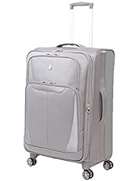 """Baden 24.5"""" Expandable Spinner Suitcase, Silver"""