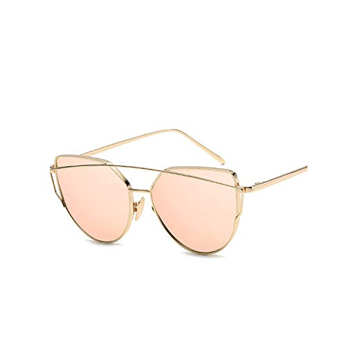 (Cat Eye Vintage Rose Gold Mirror Woman's Sunglasses Metal Reflective Flat Lens Tourism Multi-color style,gold-pink)