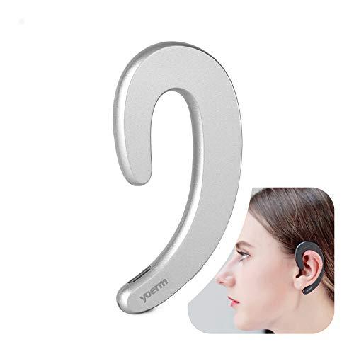 YOERM No Ear Plug Bluetooth Wireless Headphones, Ear Hook Headset with Microphone, Non in-Ear Painless Comfortable Lightweight Wear (Single Ear)