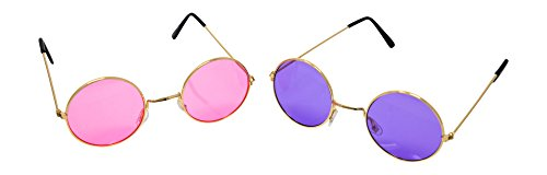 Circle Hippie Sunglasses: 2 Pair (1 Purple & 1 Pink) 60s 70s Costume Parties