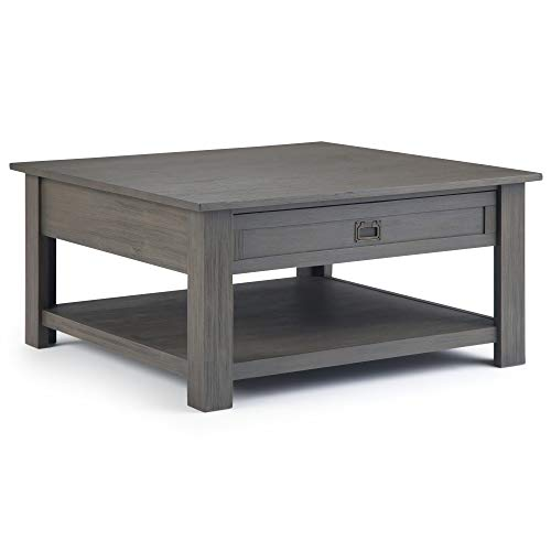 Simpli Home AXCMON-02-FG Monroe Solid Acacia Wood 38 inch Wide Square Rustic Contemporary Coffee Table in Farmhouse ()