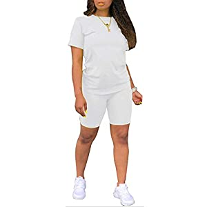 Women Two Piece Outfits Tracksuit – Workout Sets Short Sleeve Shirt Top Bodycon Shorts Set Jumpsuits Jogger