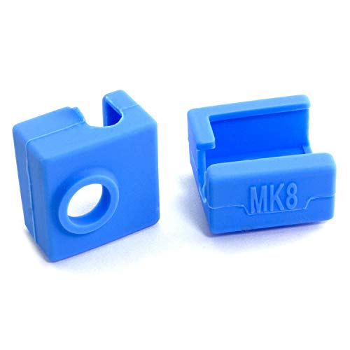 RuiLing 3pcs Blue Silicone Cover for 3D Printer MK7/8/9 Aluminum Heating Block High Temperature Resistance V6 J-Head Hotend Extruder Silicone Insulation Socks