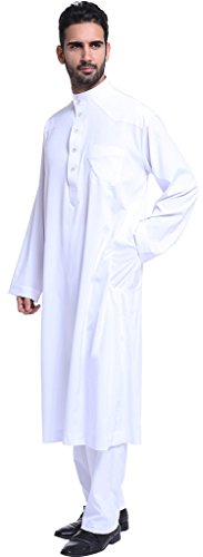 Ababalaya Men's Long Sleeve Mock Neck Solid Salwar Suits Dubai Robe Sets, White, L by Ababalaya (Image #1)