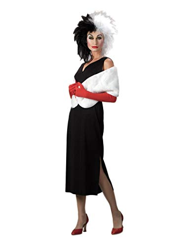 Cruella Deville Costumes (Disguise Adult 101 Dalmatians Disney Cruella De Vil Costume, Black/White, Large)