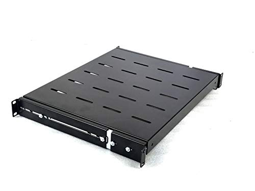 Rising Sliding Rack Server Shelf 1U 19'' 4 Post Rack Mount-Adjustable 15''-24'' (Tray Rack Keyboard)