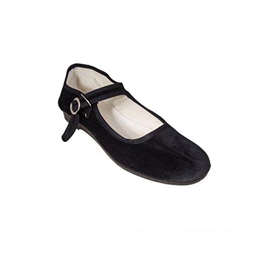 negro Bailarinas para negro Sonnenscheinschuhe mujer de Terciopelo pn4P0
