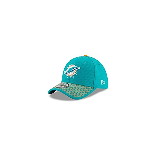 Men's New Era Miami Dolphins 2017 Official NFL Sideline 3930 Cap Aqua/Orange Size Large/X-Large
