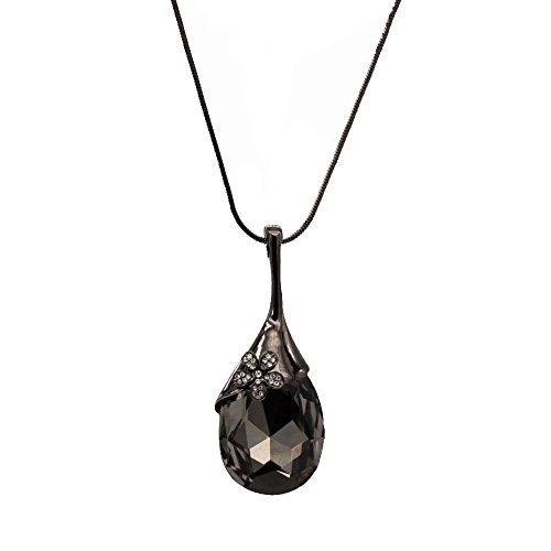 Black Big Tear Drop Crystal Long Necklace Pendant Chain 33