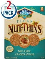 Blue Diamond Natural Pecan Nut-Thins Cracker Snacks -- 4.25 oz Each / Pack of 2