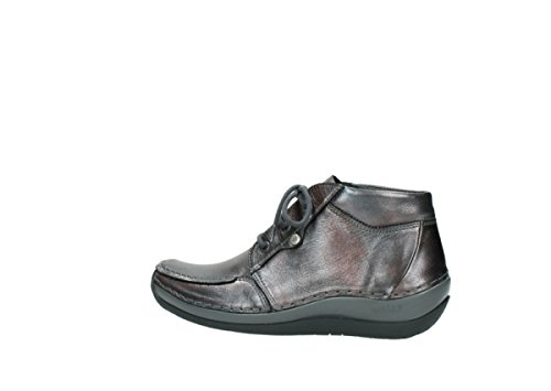 Wolky Stivali Metallic Leather Stringati Donna 90210 Anthracite rrwaxq