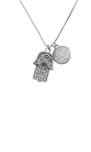 - Hamsa Hand with Blue Crystal Angels Wear Scrubs Engraved Necklace