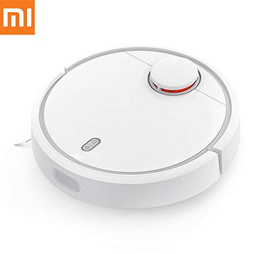Xiaomi Mi Robot Vacuum with with Precise Distance Sensor System Powerful Suction LDS Path Planning 5200mAh Battery for Hard-Floor N Low Thin Carpet, White (Xiaomi Roborock Smart Robot Vacuum Cleaner 2nd)