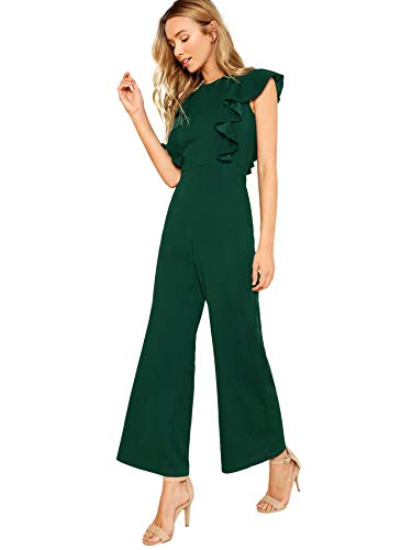 Romwe Women's Sexy Casual Sleeveless Ruffle Trim Wide Leg High Waist Long Jumpsuit (Large, Green)