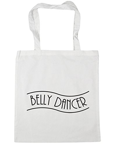 HippoWarehouse Belly Dancer Tote Compras Bolsa de playa 42 cm x38 cm, 10 litros blanco