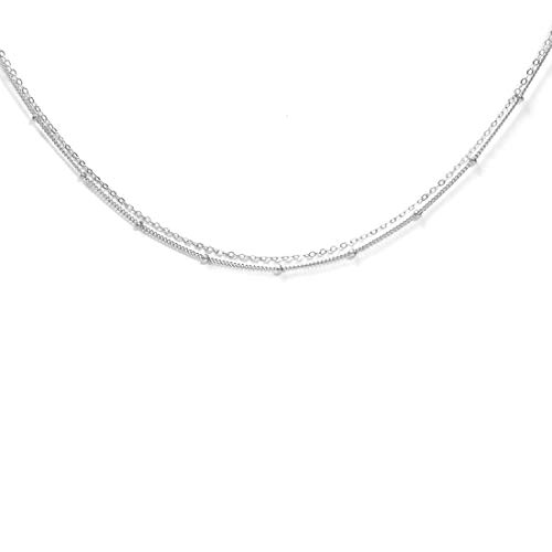 Womens Necklace Fine (Dainty Necklace Choker For Women - Freshwater Cultured Pearl, Fine Chain For Layering, AAA Cubic Zirconia Drop, 14K Gold Filled, Made in USA, 13