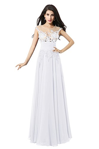 Diyouth 2015 Luxury Long Chiffon Illusion Lace Flower Prom Dress Ivory Size 10 - Miranda Ivory Prom Dress