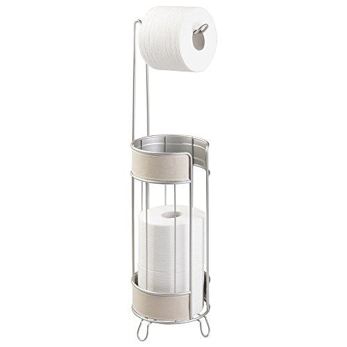 mDesign Free Standing Decorative Wire Metal Toilet Tissues Paper Roll Standing Holders and Extra Rolls Reserve Storage Organizer for Bathroom Organizing - Taupe/Satin