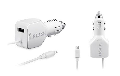 iFlash 24 W/un 2,4 + 2,4 A (una 4,8 Max) portátil cargador de coche de doble puerto USB con Cable Micro USB integrado para...