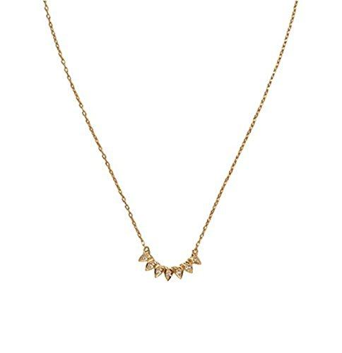Dot & Line gold silver spike crescent pendant necklace (Gold)