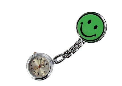 Schwesternuhr Smiley mit Clip grün 1 Stück Krankenschwesteruhr Kitteluhr Damenuhr Herrenuhr Original Tiga-Med Qualität