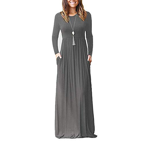 Long Women's Pleated Casual Swing Plus Long Sleeve Dresses Solid Plain Fit Maxi MSGABLE Dresses Loose Size Grey Pockets f5dqPOwA
