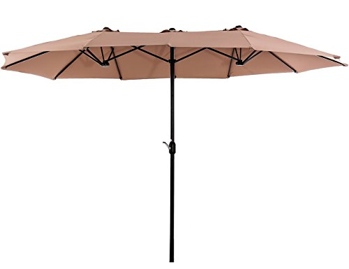 Superjare Outdoor Patio Umbrella with Crank System, Extra-large Double-sided Design, 100% Polyester Fabric - Beige (Simply Patio Shade Umbrella Offset)