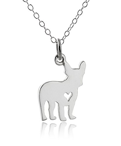 Sterling Silver French Bulldog with Heart Cutout Charm Pendant Necklace, 18 Inch Chain