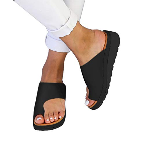softome Women's Wedge Slides Sandals Flip Flops Toe Ring Side Cutout Slippers Black