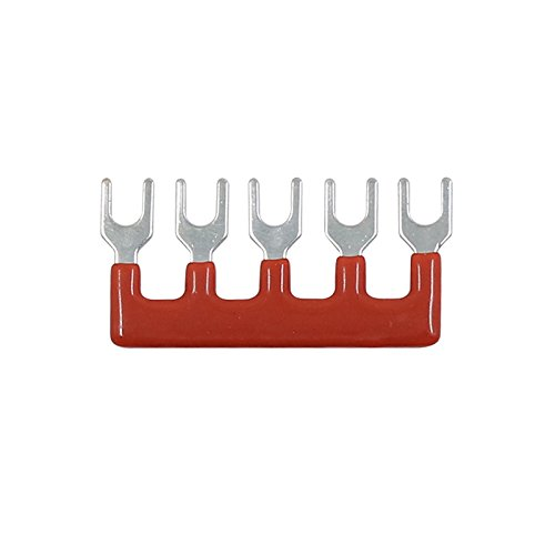 Suyep 5 Positions 25A Wire Connector Pre Insulated Fork Type Barrier Spades Terminal Strip Jumper Block TB2505 (50, Red)