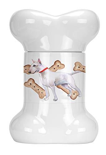 Caroline's Treasures CK2273BSTJ Bull Terrier Bone Shaped Treat Jar, 9 in in, - Terrier Bull Bone