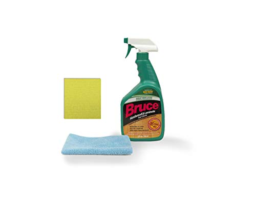 Bruce 32 fl oz Hardwood and Laminate Floor Cleaner Spray with One Blue Microfiber Cleaning Cloth and One Yellow Sponge Cloth