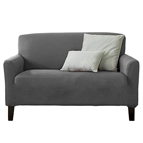 Home Fashion Designs 1-Piece Spandex Slipcover Dawson Collection. (Love Seat, Grey)