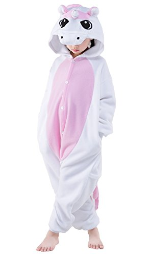 Halloween Child Pajamas Animal Cosplay Costume Anime Makeup Partywear Jumpsuit Outfit-Pink Unicorn,95 -