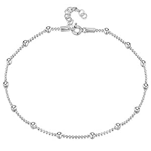 925 Fine Sterling Silver 3.2 mm Adjustable Anklet - Ball Bead Chain Ankle Bracelet - 22 to 26 cm - Flexible Fit