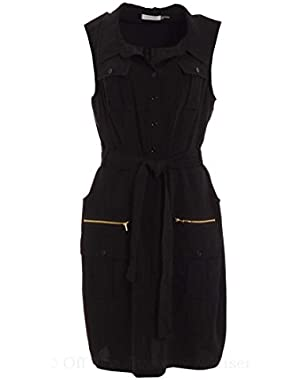 Calvin Klein Women's Collared Tie Waist Sleeveless Dress