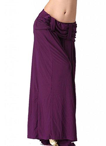 ZLTdream Women's Belly Dance Straight Pants Crystal Cotton Purple