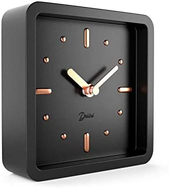 Driini Modern Mid Century Desk and Table Analog Clock Black Rose Gold – Battery Operated with Silent Sweep Movement Small Square Desktop Clocks for Mantel, Nightstand, Office, or Bedrooms.