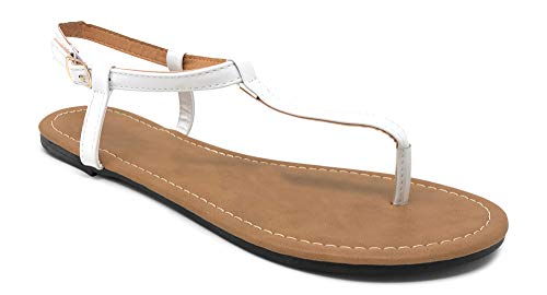 Charles Albert Women's Patent Leather T-Strap Buckle Thong-Toe Flat Sandal in White Size: ()