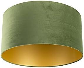 QAZQA Algodón Pantalla terciopelo verde/oro 50/50/25, Redonda/Cilíndrica Pantalla lámpara colgante,Pantalla lámpara de pie: Amazon.es: Iluminación