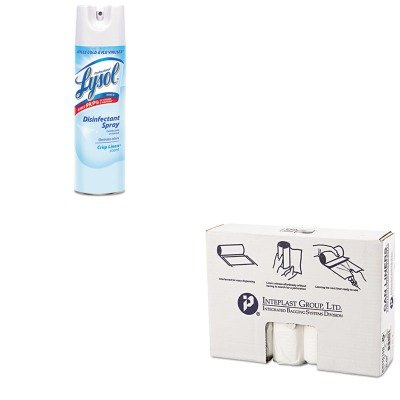 KITIBSS334016NRAC74828CT - Value Kit - IBS S334016N High Density Interleaved Commercial Coreless Roll Can Liners, Natural (IBSS334016N) and Professional LYSOL Brand Disinfectant Spray ()