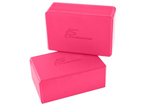 "Prosource Fit Foam Yoga Blocks Set of 2, High Density EVA Yoga Bricks, Sturdy Yoga Prop Large Size 4""x 6"" x 9"" (4 color options)"