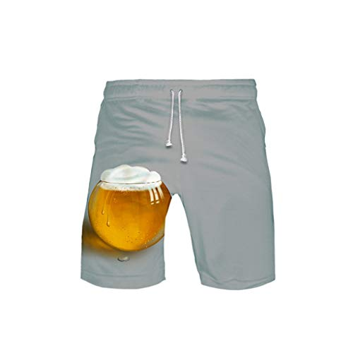 Haozin Lover's 3D Printing Beer Festival Casual Beach Shorts Pants Elastic Drawstring Waist(XL,Gray)