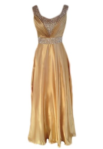 Women long section of the bride wedding toast dress - beaded bridesmaid dress (18 Plus, gold)