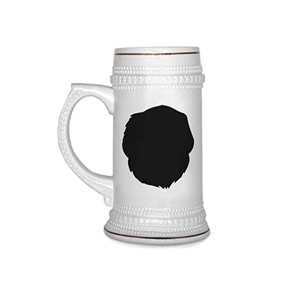 Custom Beer Mug Pyrenean Mastiff Silhouette Ceramic Drinking Glasses Beer Gifts White 18 OZ Design Only 1
