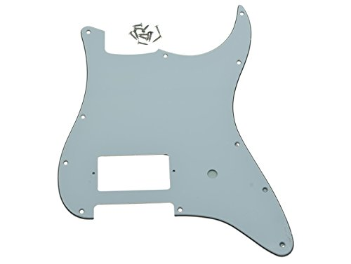 KAISH 11 Hole ST Strat One Humbucker Guitar Pickguard Scratch Plate Fits Fender Delonge White 3 Ply